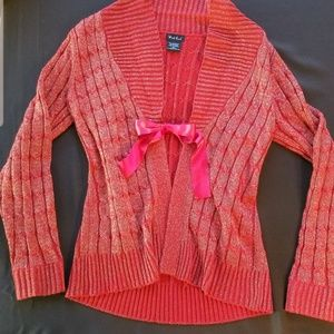 West End Cardigan Vintage Ribbon Coral Gold Trendy